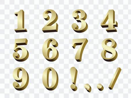Three-dimensional figure gold 3