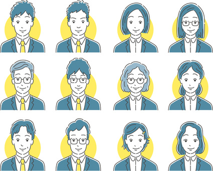 Illustrations of face sets of various office workers