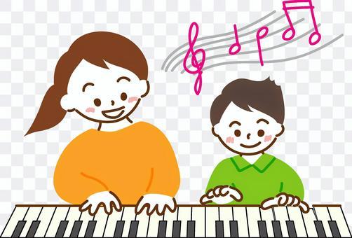 ピアノのレッスンをする親子 カラー