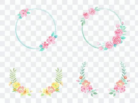 水彩花卉框架集
