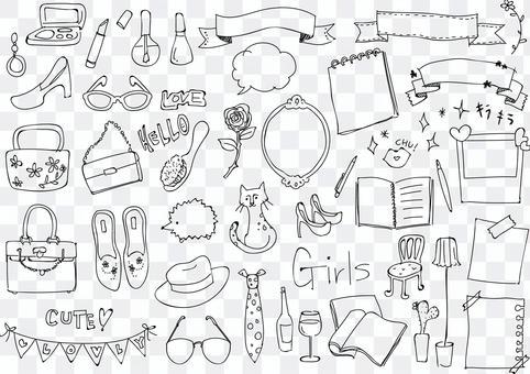 Girl style illustration set Line only