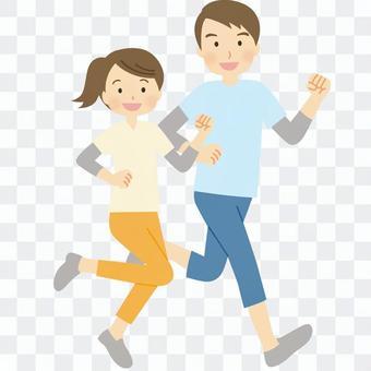 兩個人跑步
