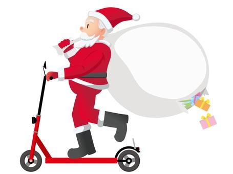 聖誕老人騎電動滑板