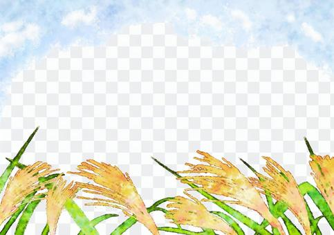 Watercolor picture frame of Suzuki field in autumn