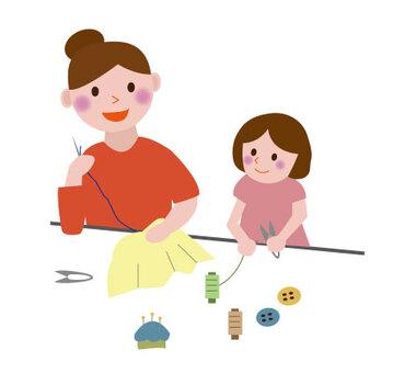 裁縫をする親子