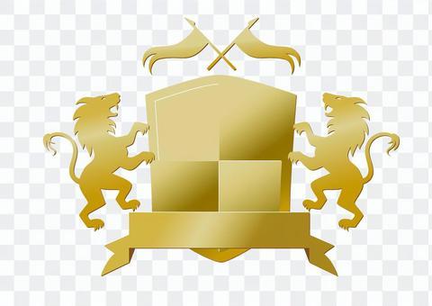 エンブレム ライオン 金 ロゴ