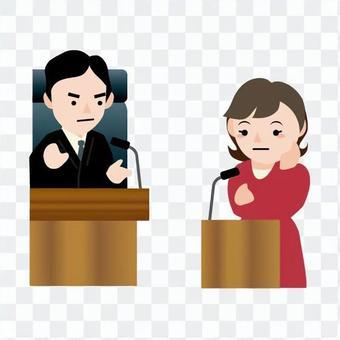 男子判斷指控的女性證人席上