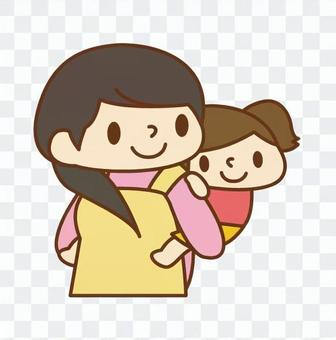 Girl with a piggyback holder