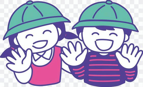 戴著學校帽的小學男孩和女孩的插圖