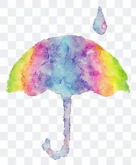 雨傘水彩畫·彩虹的顏色