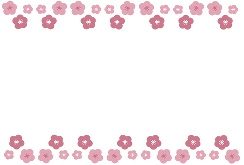 Frame / frame like plums and cherry blossoms in full bloom