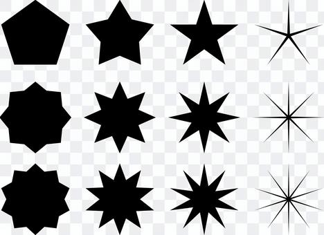 星 キラキラ トゲトゲなど セット 黒