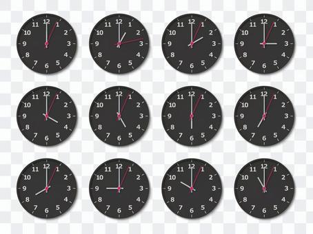 数字表示のある時計(黒)セット