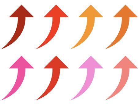 簡單經線上升箭頭圖標集:紅色