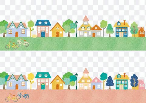 Townscape landscape background frame illustration banner