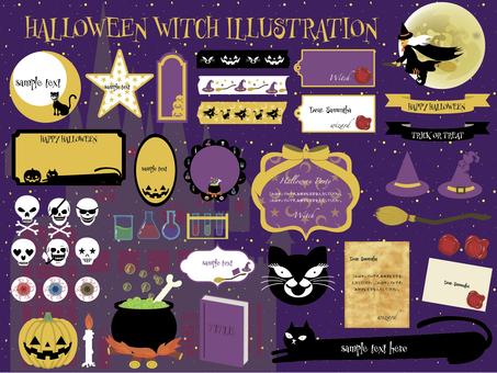 Halloween witch label frameset