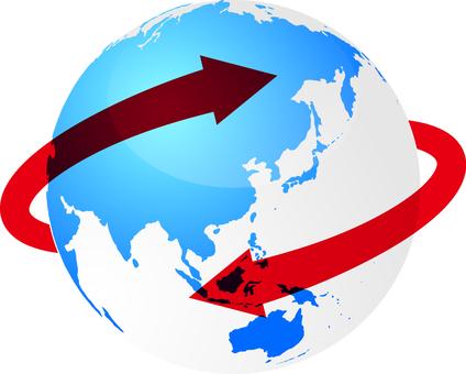 以日本為中心環繞地球的紅色箭頭
