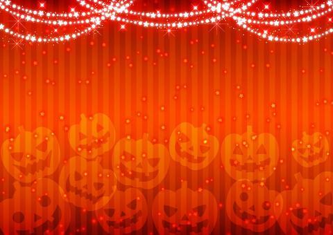 キラキラストライプのハロウィン背景橙ヨコ