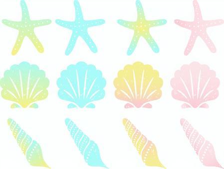 Variation of shellfish and starfish