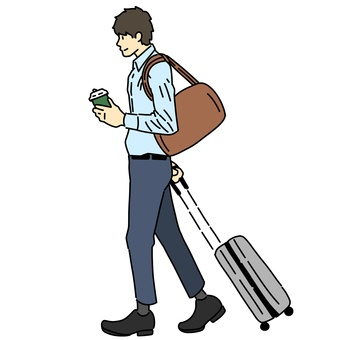 A man walking with a suitcase