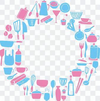 廚房圖標的圓形卡