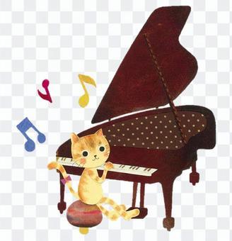 動物和樂器系列 - 貓和鋼琴〜