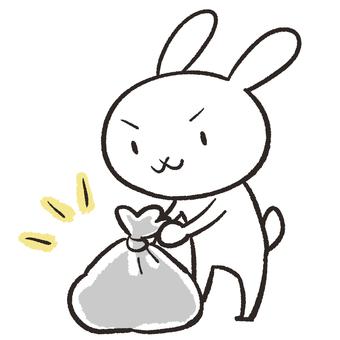 Rabbit that puts out trash