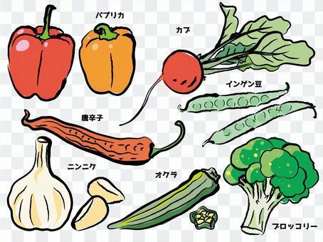 Sumi-e style _ Japanese style chili pepper paprika garlic