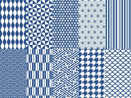 수화 무늬 패턴 배경 세트 (블루)