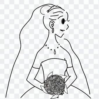 新娘_與花束_黑色和白色