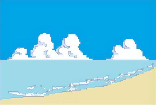 點畫背景素材海天沙灘2