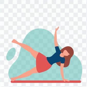 一個女人用一隻手在地板上擺姿勢