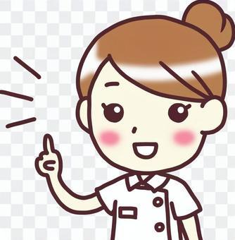 [女性白色衣服3]對角_手指刺_一半