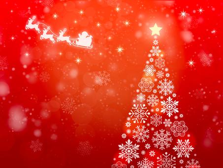 雪花樹和聖誕老人紅色