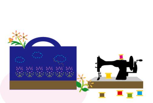 缝纫机和缝纫手工松鼠袋
