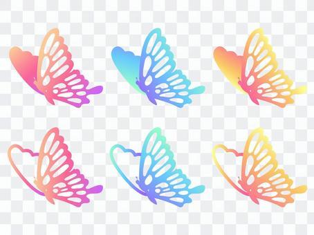 粉色和淺藍色,黃色燕尾蝶02(無線條)
