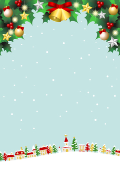 聖誕白雪皚皚的城市景觀藍色背景垂直