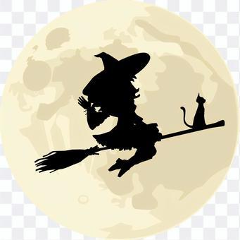 巫婆黑貓剪影
