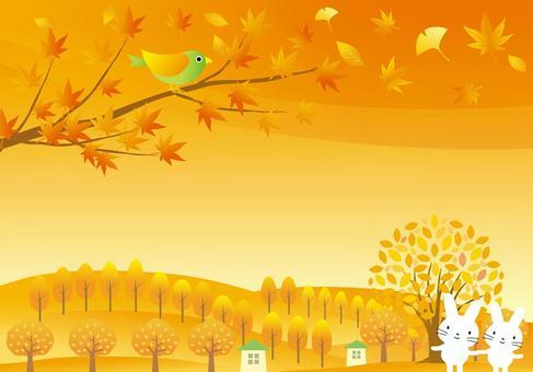 秋天的景色和動物