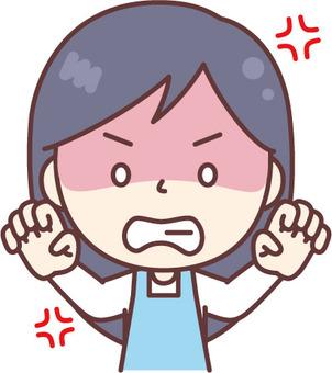 분노의 앞치마 여성 파랑