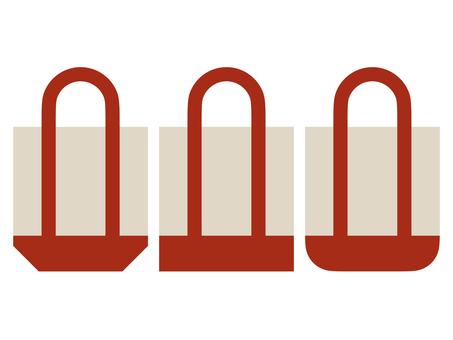 Flat eco bag icon set C: red