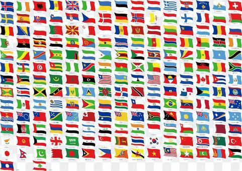 套手繪風和世界世界集合旗子
