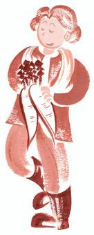 農業の女性 大根を手に 手描イラスト