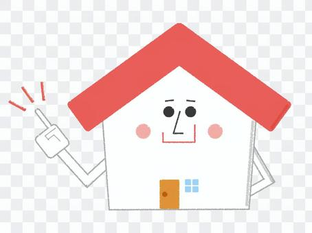 Home character finger pointing red