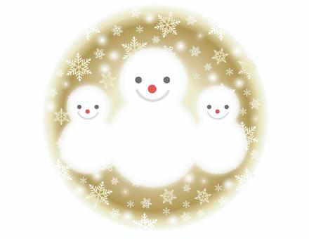 雪人父母和孩子和雪的圓形背景