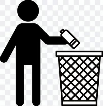 ゴミ捨て・ポイ捨て禁止 ゴミ箱ピクト