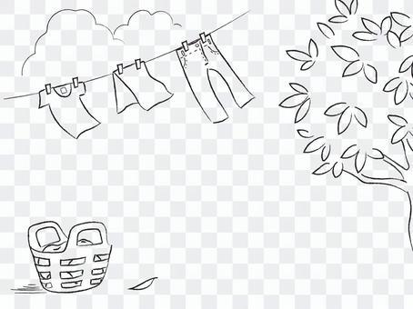 帶鉛筆觸摸的手繪插圖_洗滌天氣