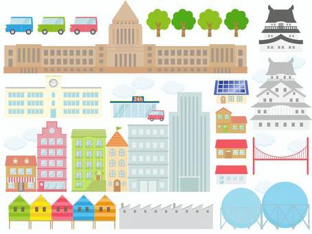 Set of buildings