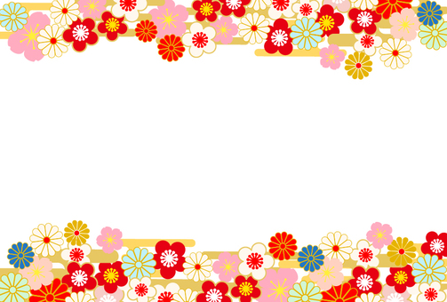 New Year's card format-Japanese pattern frame frame