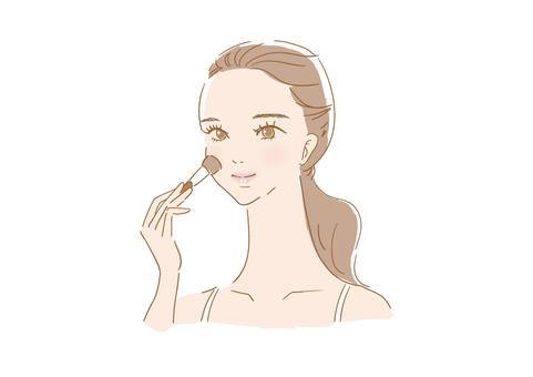 化妝的女人(臉頰)